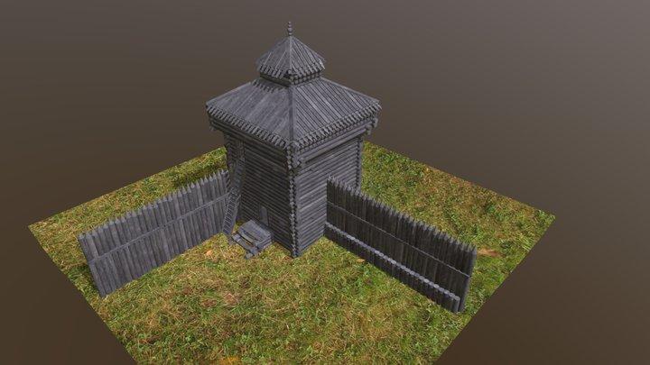 Corner tower of the Siberian castle 3D Model