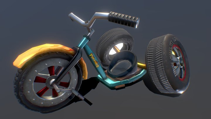 3D Stylized Mod Tricycle 3D Model