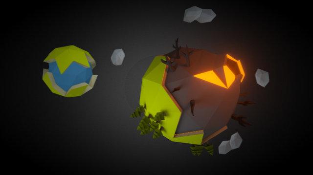 Lowpoly planet - Burned alive 3D Model