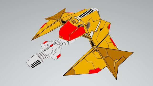 Yellow Space Ship 3D Model
