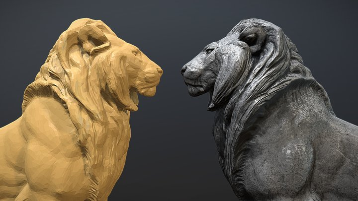 Seated Lion 3D Model