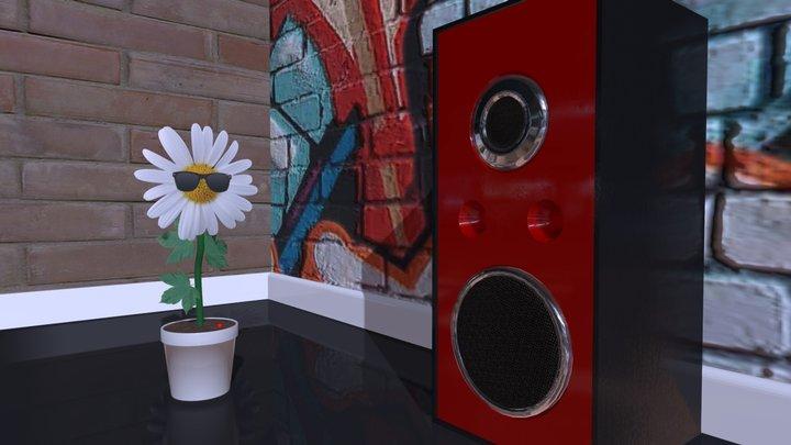 DANCING FLOWER POT & SPEAKER SOUND VISUALISATION 3D Model