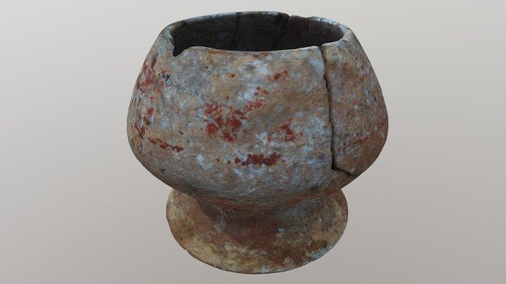 Mayan Polychrome pedestal bowl 3D Model
