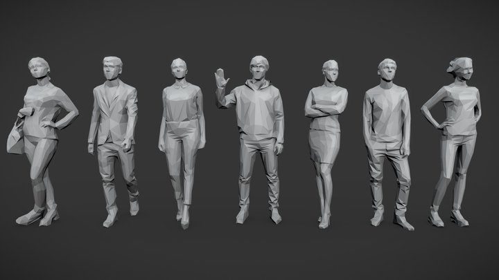 Lowpoly People Casual Pack Vol.11 3D Model