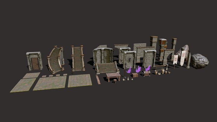 Medieval Dungeon Pack (60 Game Ready Assets) 3D Model