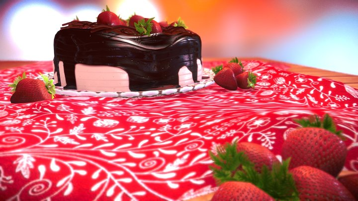 Torta de Chocolate com Morango 3D Model