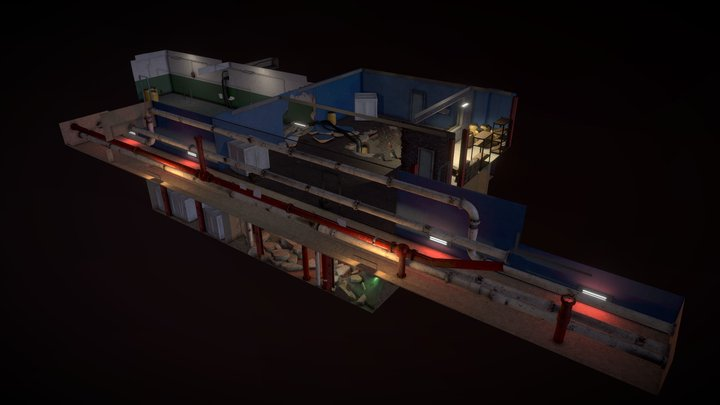 Dystopian Industrial Hall Way 3D Model