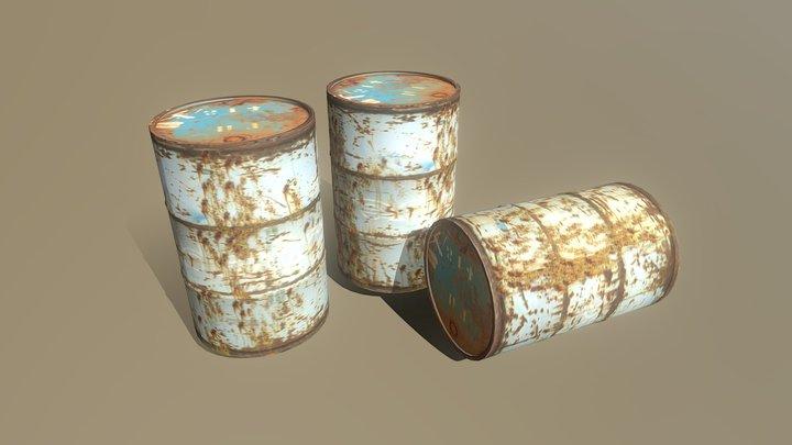 Oil barrel Textured Game assets 3D Model