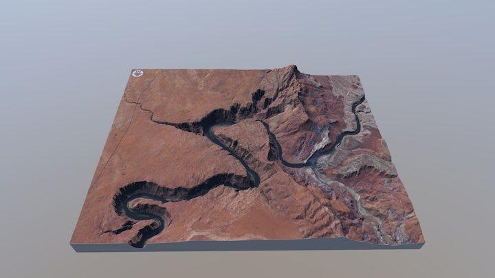 Horseshoe Bend Map, 1:55,000 Scale 3D Model