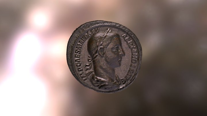 Roman Medallion of Emperor Severus Alexander 3D Model