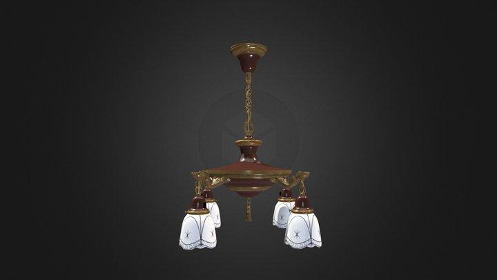 Antique Pan Lamp 001 (High Poly) 3D Model