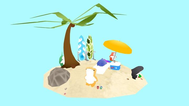 A sharky day on the beach 3D Model