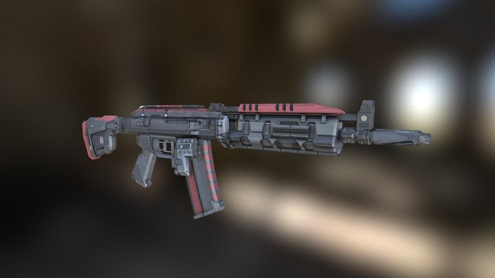 Ak-117 weapon (with skin) 3D Model
