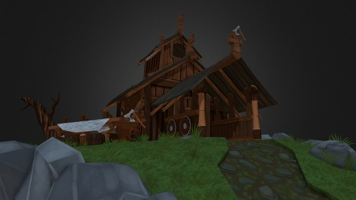 A grey day at the Viking Tavern 3D Model