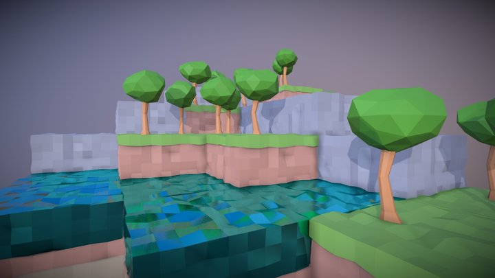 Low Poly Isometric Islands 3D Model