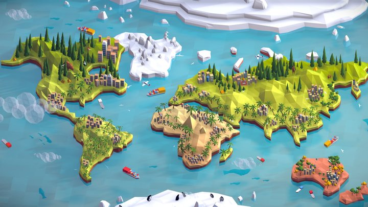 Cartoon Low Poly World Map 3D Model