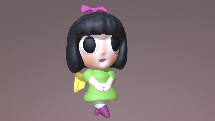Little Japanese Angel Girl 3D Model