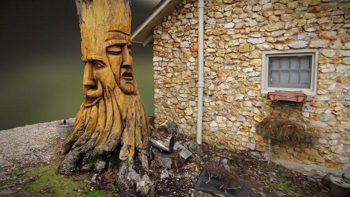 Rock Cottage Gardens Wood Carving 3D Model