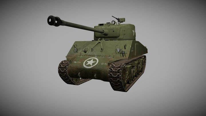 """M4 Sherman for """"Hour of Victory"""" shooter game 3D Model"""