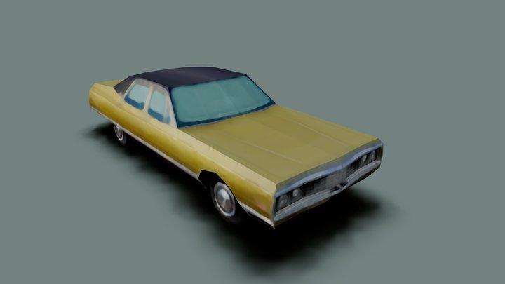 Low Poly Retro Car 3D Model