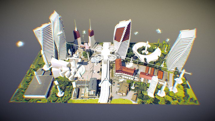 """Närpes citycentre 2044 """"The Golden Days"""" 3D Model"""