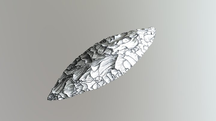 Modern Flint Bifacial Knife 3D Model
