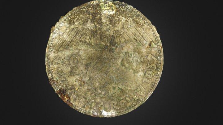 """coin """"Deutsches Reich - 2 Mark"""" 3D Model"""
