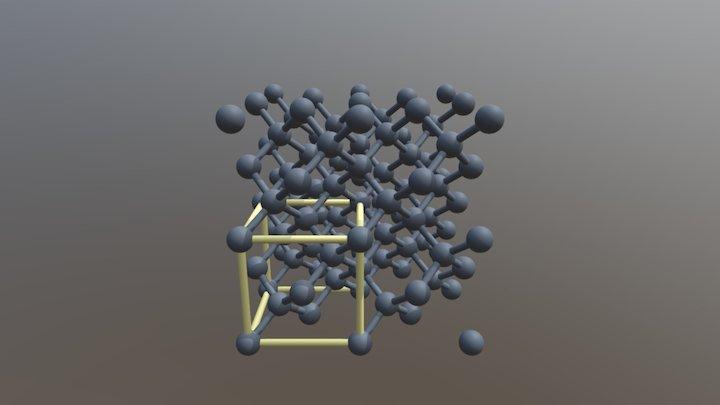 Кристаллическая структура алмаза (+эл. ячейка) 3D Model