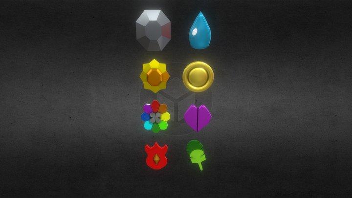 Pokemon Badges 3D Model