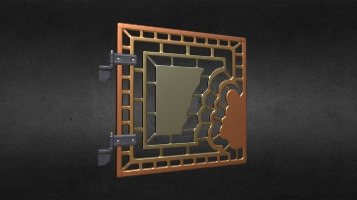 Fancy Gate or Grate with Hinges 3D Model