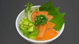 Seafood bowl - Salmon and Avocado 3D Model