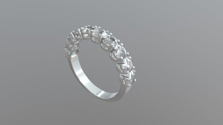 White Gold Engagement Ring - 04gg98 3D Model