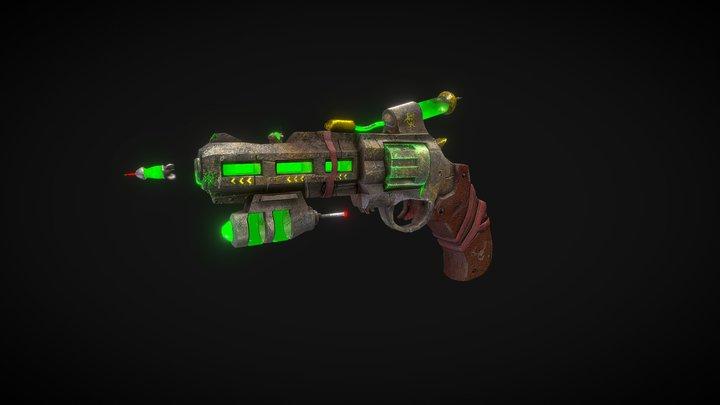 Gun DieselPunk + Bullet 3D Model