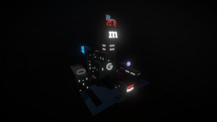 WebXR Town (Night version) 3D Model