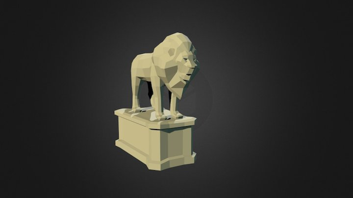 Standing Lion statue 3D Model