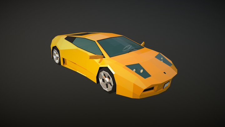 Low Poly Sports Car 02 3D Model