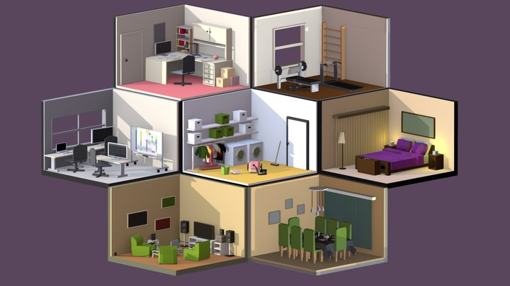 Low-Poly Daily Routine 3D Model
