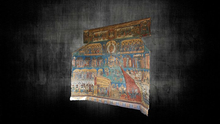 Western Wall of Voronet Painted Church 3D Model