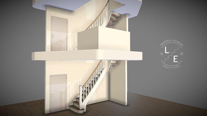 Twee landelijke trappen in cottage stijl 3D Model