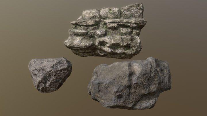 The Park Bench-Rocks 3D Model