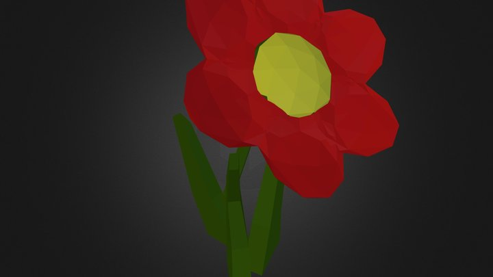 Low Poly Red Flower 3D Model