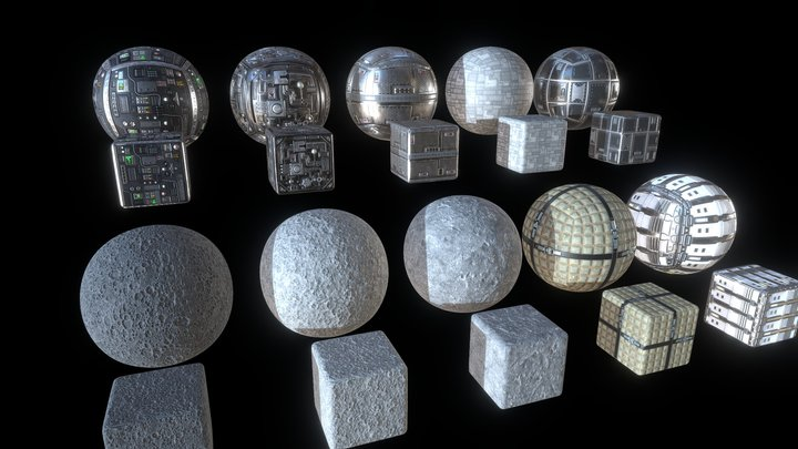 10 2K Space PBR Textures - FREE 3D Model