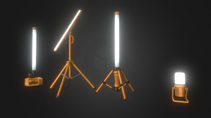 Working Lamps Set 3D Model