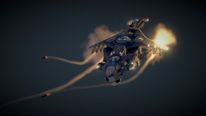 "Star Conflict Gunship ""Wolfhound"" 3D Model"