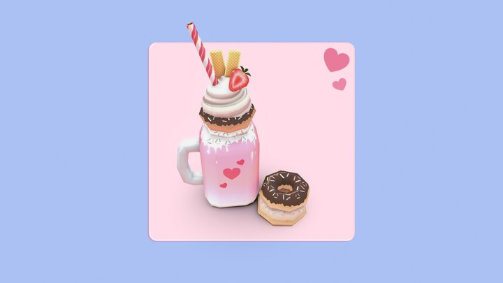 Loaded Milkshake #LowPolyDessertChallenge 3D Model