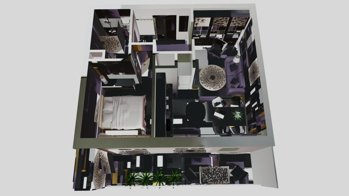 Apartment with natural light v2 3D Model