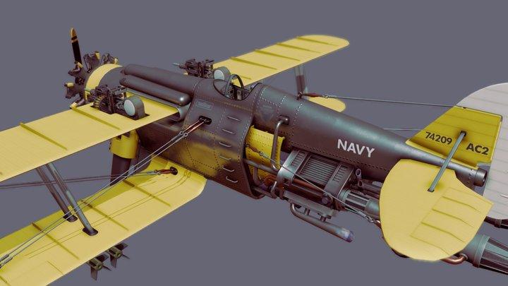 Dieselpunk Bi-Plane 3D Model