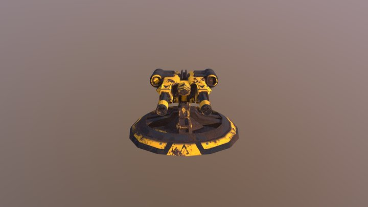 Rusted Chain Gun Turret 3D Model