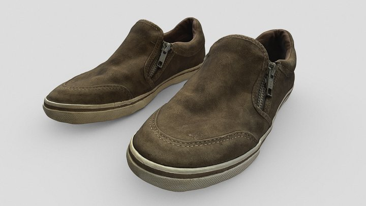 Brown Leather Shoes for Character 3D Model