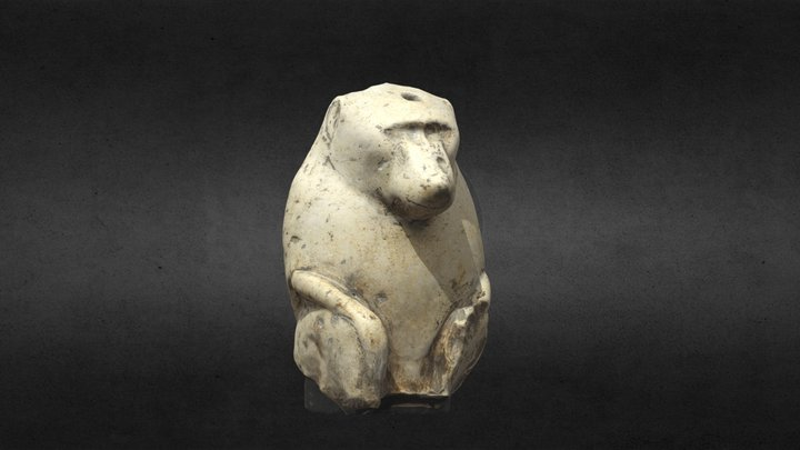 Limestone Statue of a Baboon 3D Model